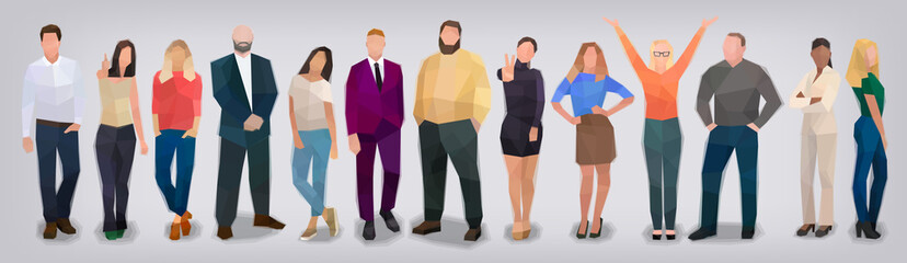 Company of people on grey background, vector
