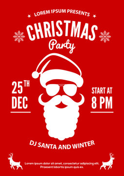 Christmas party invitation, flyer or poster design with Santa Claus hat, beard and glasses.. Vector illustration.