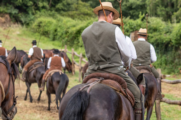 Hunting party, horse riding in posh, elegant countryside mansion. Ranch lifestyle, noble sporting, outdoor activity with horses. Equestrian business people.