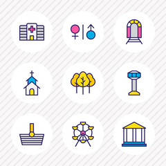 Vector illustration of 9 infrastructure icons colored line. Editable set of carousel, wc, airport and other icon elements.