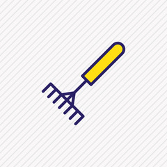 Vector illustration of rake icon colored line. Beautiful industry element also can be used as pitchfork icon element.