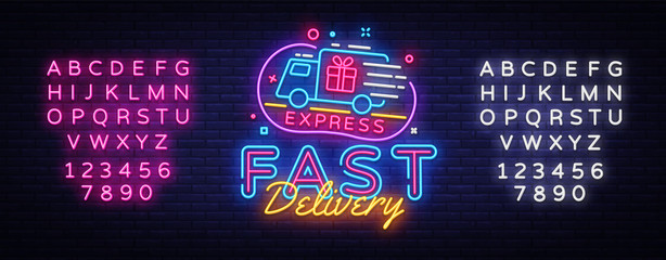 Fast Delivery neon sign vector. Delivery concept Design template neon sign, light banner, neon signboard, nightly bright advertising, light inscription. Vector illustration. Editing text neon sign