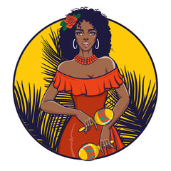 Beautiful girl playing maracas. Happy smiling black woman in summer dress. Circle label, poster, tee shirt print. Vector illustration in retro pin-up, pop art, comic style.