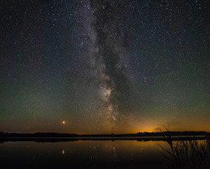Panorama of the beautiful milky way over a large lake on a summer night