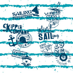 Cute kid sailing ocean skipper company abstract grunge vector pattern for children wear