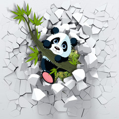 3d background, panda peeping from a broken wall. 3D wall looks very lovely and also brings different colors to room! It will visually expand children's room and become an accent in the interior