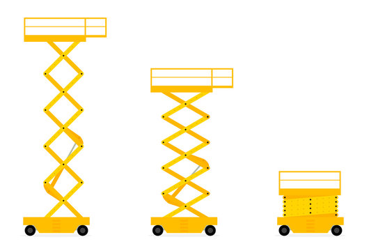 Scissors lift icon set. Clipart image isolated on white background