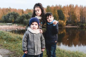 happy family in autumn city park