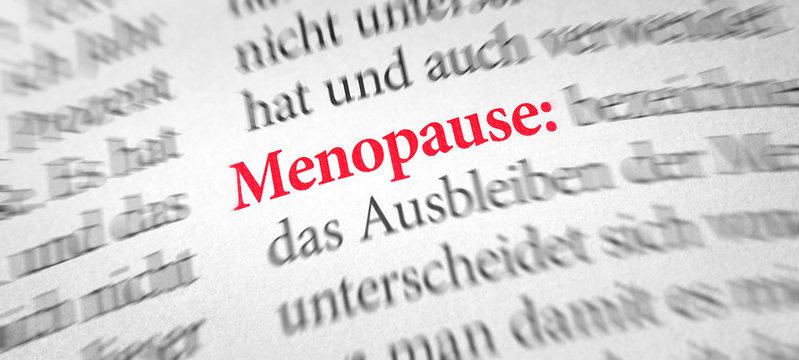 Wörterbuch mit dem Begriff Menopause