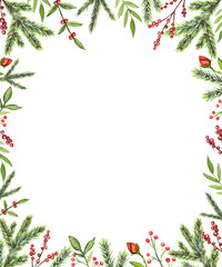 Rectangular frame with Christmas branches, berries, roses and twigs isolated on white background. Watercolor hand drawn illustration