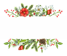 Borders frame with Christmas branches, berries, cone, flowers and twigs isolated on white background. Watercolor hand drawn illustration