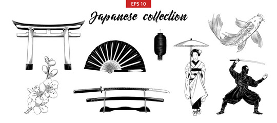 Vector engraved style illustration for posters, decoration and print. Hand drawn sketch set of japanese elements isolated on white background. Detailed vintage etching drawing.
