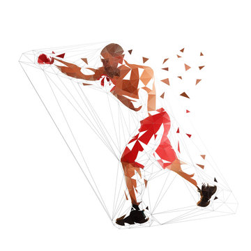 Box fighter punch, isolated low polygonal illustration. Geometric fighter