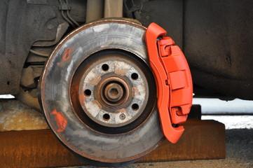Car repair. replacement of brake discs and pads