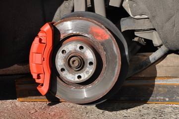 Car repair. replacement of brake discs and pads