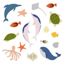Sea animals vector