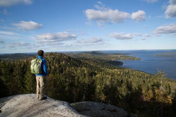 Koli, hiker, autumn landscape