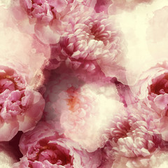 photo and watercolour seamless pattern with chrysanthemums and peonies flowers - digital mixed media artwork. endless motif for textile decor and design