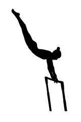uneven bars exercise woman gymnast in artistic gymnastics