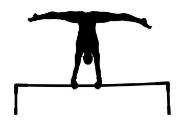 exercise uneven bars woman gymnast black silhouette