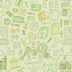 hand drawn business finance doodles seamless vecor pattern