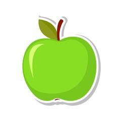 Green apple. Sweet fruit. Isolated fruit on white background. Vector illustration.