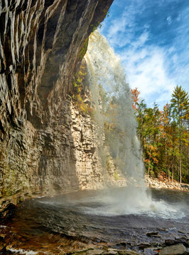 Awosting Falls in Minnewaska State Park Reserve . Autumn forest nature. Upstate NY, USA