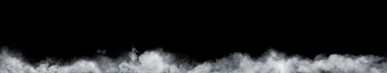 Poster Smoke Panoramic view of the abstract fog or smoke move on black background. White cloudiness, mist or smog background.
