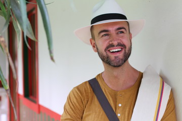 Handsome South American man wearing hat