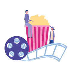 women cinema popcorn reel strip movie film