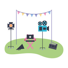 production movie film chair light camera clapperboard