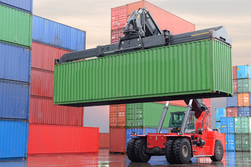 Container depot shipping, logistics and industry concept.