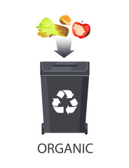 Icon of Trash Box for Organic Waste Color Banner