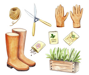 watercolor garden tools, hand painted illustration of gardening stuff: seeds, seenlings in wooden box, hank of twine, rubber boots, gloves and pliers