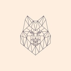Geometric linear polygonal wolf. Abstract head of a wild wolf. Sketch for T-shirts, tattoo or coloring book. Animal vector illustration