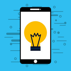 smartphone with light bulb isolated icon