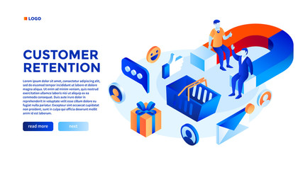 Customer attraction concept background. Isometric illustration of customer attraction vector concept background for web design - fototapety na wymiar