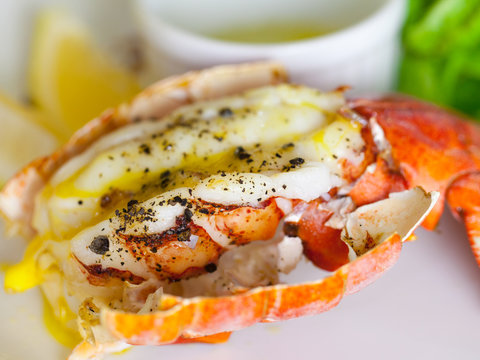 Lemon-butter grilled lobster tails