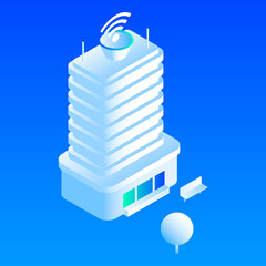 Telecommunication building icon. Isometric of telecommunication building vector icon for web design isolated