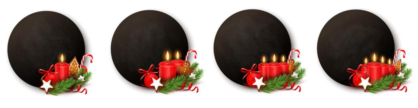 Advent Button Set - Kreidetafel mit Kerzen und Weihnachtsschmuck