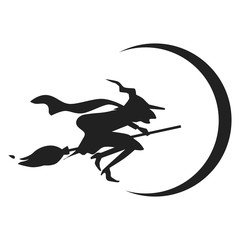 Witch on broom icon. Simple illustration of witch on broom vector icon for web design isolated on white background