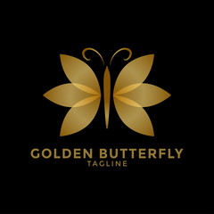 Golden butterfly logo icon design template vector illustration