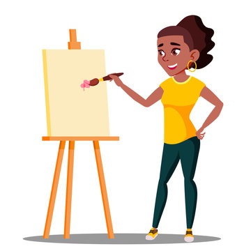 Student Art College Drawing On The Easel Vector. Isolated Illustration