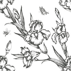 Vintage flowers irises. Seamless pattern. Vector Illustration.