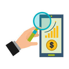 hand magnifying glass smartphone financial business