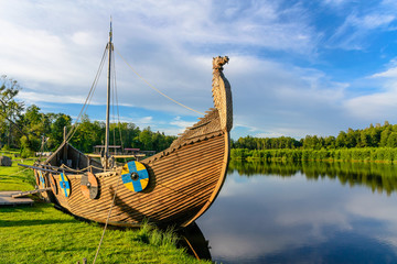 The viking boat on the lake. Sula, Belarus