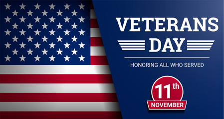 Happy veterans day concept background. Realistic illustration of happy veterans day vector concept background for web design