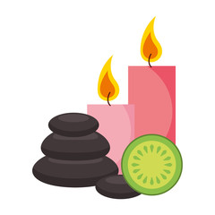 hot stones candles and fruit spa healthy