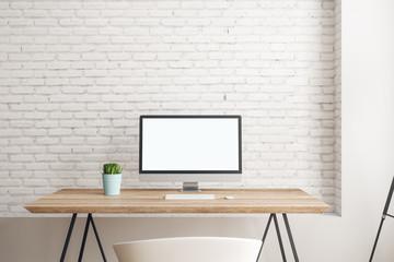 Contemporary interior with empty computer