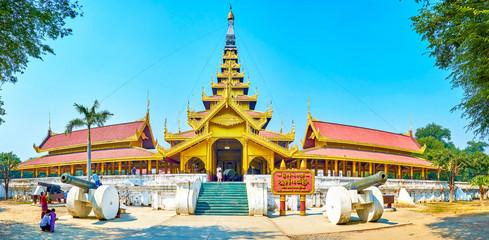 Panorama of the Royal Palace in Mandalay, Myanmar
